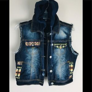 Rue 21 Blue Jean Button Up Vest With Hood Women's